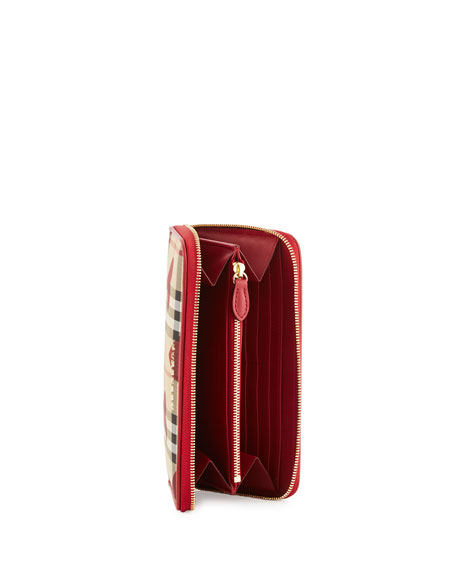 Elmore Horseferry Check & Hearts Zip-Around Wallet, Parade Red