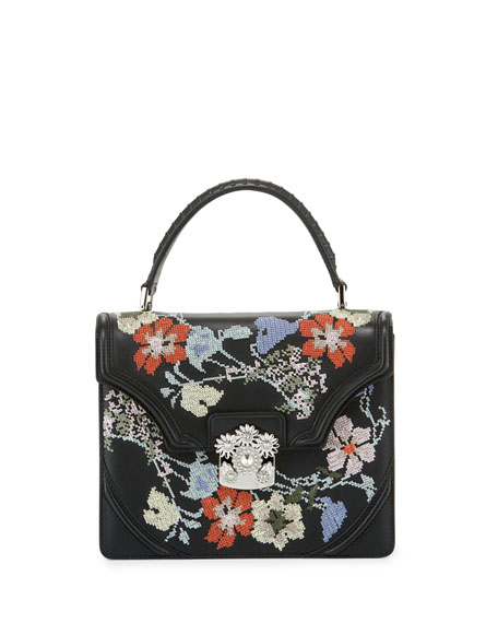 Alexander McQueen Small Floral Needlepoint Leather Satchel Bag,