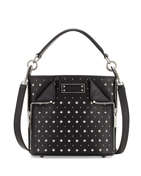 Alexander McQueen Small Studded Leather Bucket Bag, Black