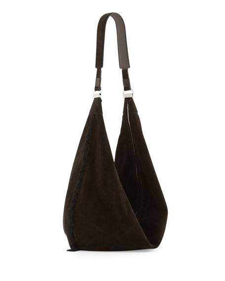 Sling 15 Tassel Suede Hobo Bag, Black