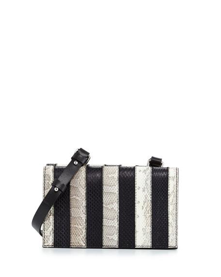 CoSTUME NATIONAL Striped Snakeskin Shoulder Bag, Optic White