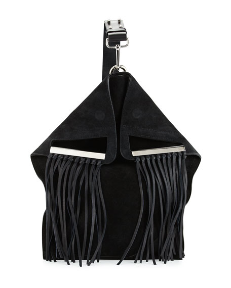 CoSTUME NATIONAL Suede Crossbody Bag W/Fringe, Black