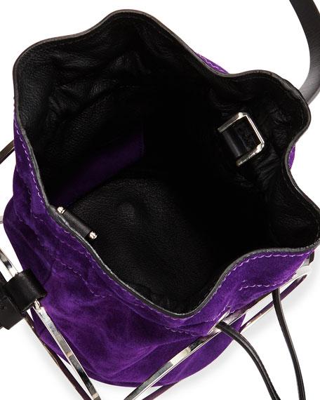 Suede Bucket Bag, Purple