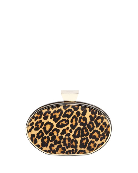 Badgley Mischka Collection Simone Leopard-Print Minaudiere