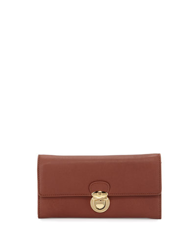 Talia Shine Leather Wallet, Cognac