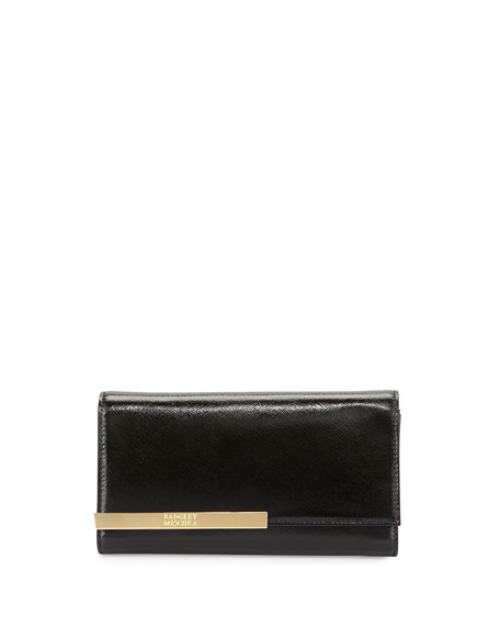 Badgley Mischka Collection Keira Saffiano Leather Wallet, Black