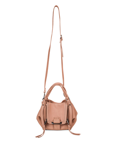 Mini Jonnie Leather Hobo Bag, Coral