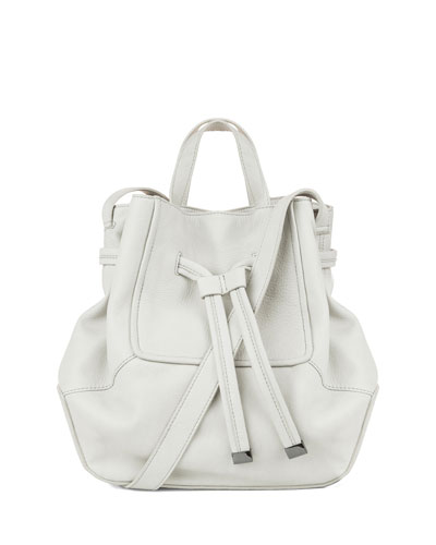 Anna Leather Bucket Bag, Stone