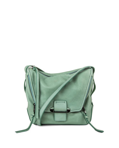 Gwenyth Leather Crossbody Bag, Dusty Teal
