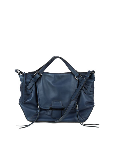 Gwenyth Leather Satchel Bag, Navy