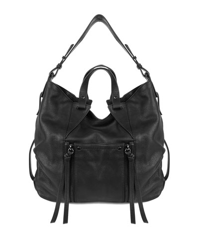 Dahlia Leather Hobo Bag, Black