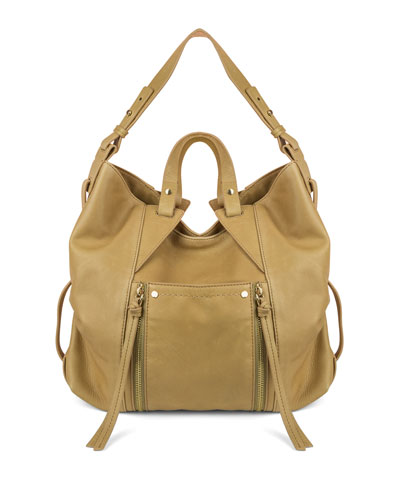 Dahlia Leather Hobo Bag, Sand