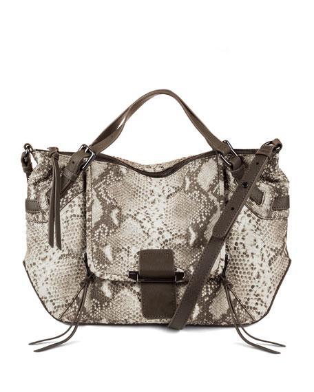 Kooba Gwenyth Large Snake-Print Leather Satchel Bag, Natural