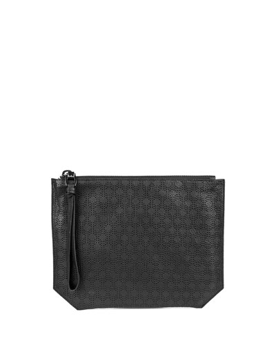 Serafina Perforated Leather Pouch, Black