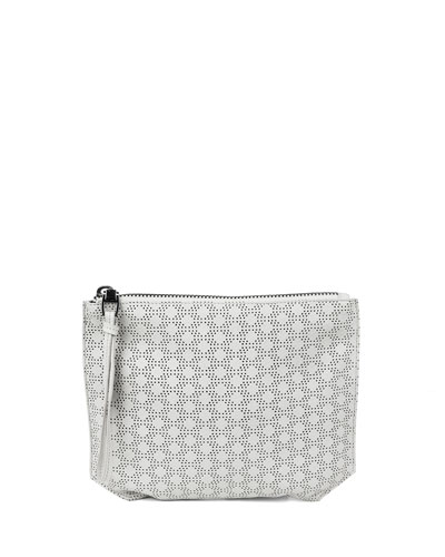 Serafina Perforated Leather Pouch, Cream