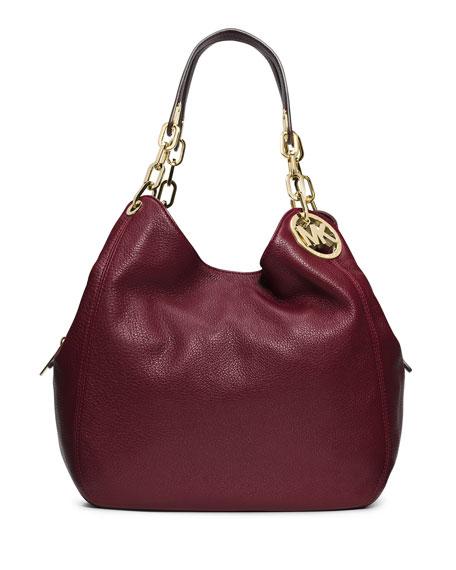 MICHAEL Michael Kors Fulton Large Leather Shoulder Tote Bag, Merlot