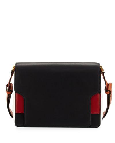 Colorblock Medium Flap Messenger Bag, Black/White