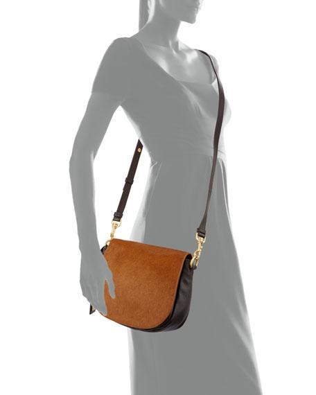 Khloe Calf-Hair & Leather Crossbody Bag, Espresso/Cappuccino