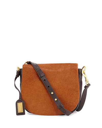 Khloe Calf-Hair & Leather Crossbody Bag, Espresso/Cappuccino