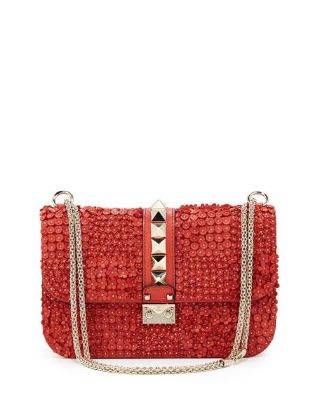 Valentino Floral-Applique Rockstud Shoulder Bag, Deep Coral