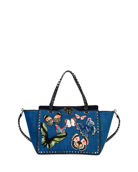 Butterfly Rockstud Denim Tote Bag