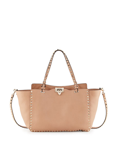Valentino Rockstud Medium Vitello Tote Bag, Taupe
