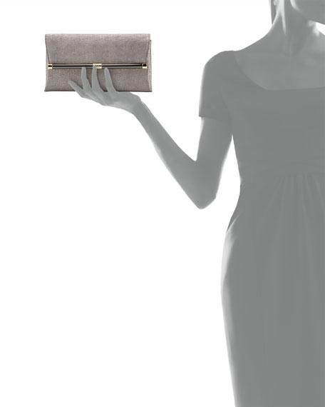 Envelope Stardust Leather Clutch Bag, Granite