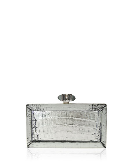 Judith Leiber Couture Coffered Crocodile Minaudiere, Antiqued