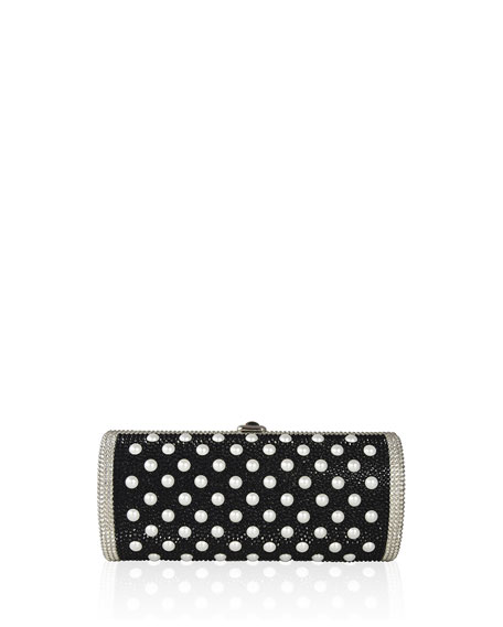 Cylinder Beaded East-West Clutch Bag, Silver/Jet