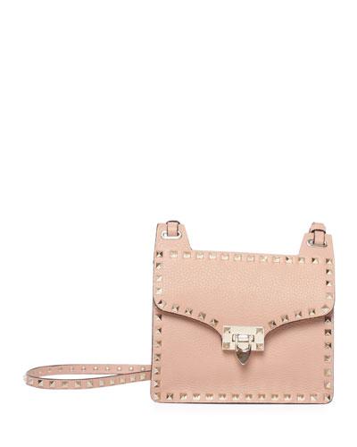 Rockstud Lock-Flap Square Shoulder Bag, Taupe