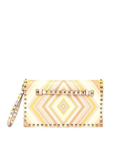 Valentino Rockstud Flap Wristlet Clutch Bag, Orange Multi