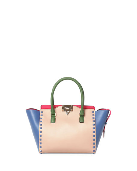 Double-Handle Small Shopper Bag, Beige/Blue/Pink/Green