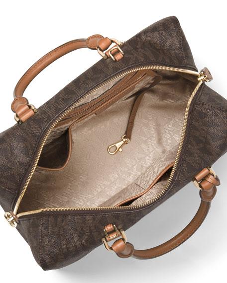Kirby Large Logo Satchel Bag, Brown