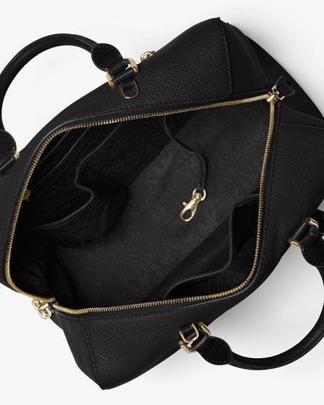 MICHAEL Michael Kors Kirby Large Leather Satchel Bag, Black ...