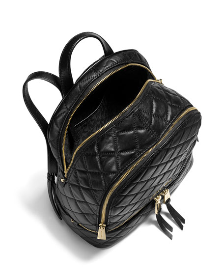 Rhea Medium Quilted Backpack, Black