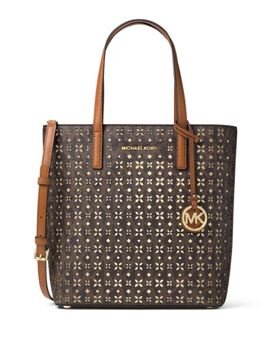 Hayley Medium Laser-Cut Logo Tote Bag, Brown