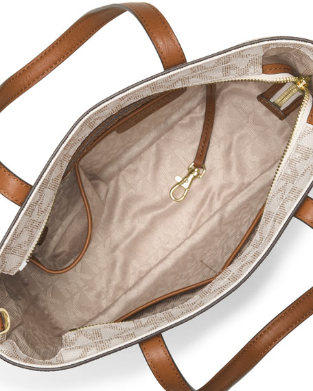 Hayley Medium Laser-Cut Logo Tote Bag, Vanilla