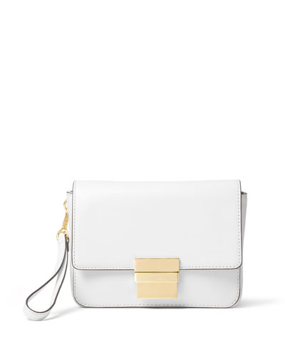 Madelyn Small Leather Clutch Bag, Optic White