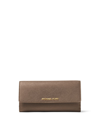 Jet Set Travel Flat Trifold Wallet, Dark Dune