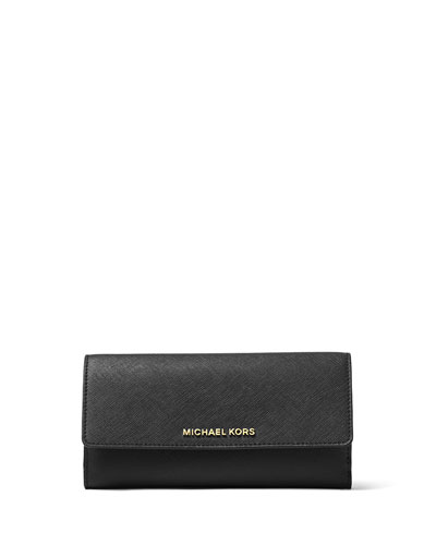 Jet Set Travel Flat Trifold Wallet, Black