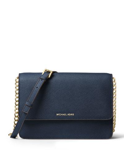 Daniela Large Saffiano Crossbody Bag, Black