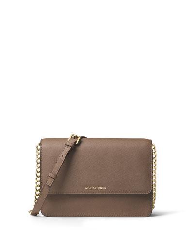 Daniella Large Saffiano Crossbody Bag, Dark Dune
