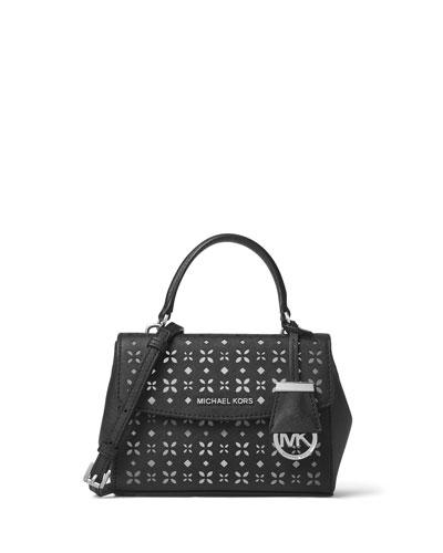 Ava XS Laser-Cut Crossbody Bag, Black/Nickel