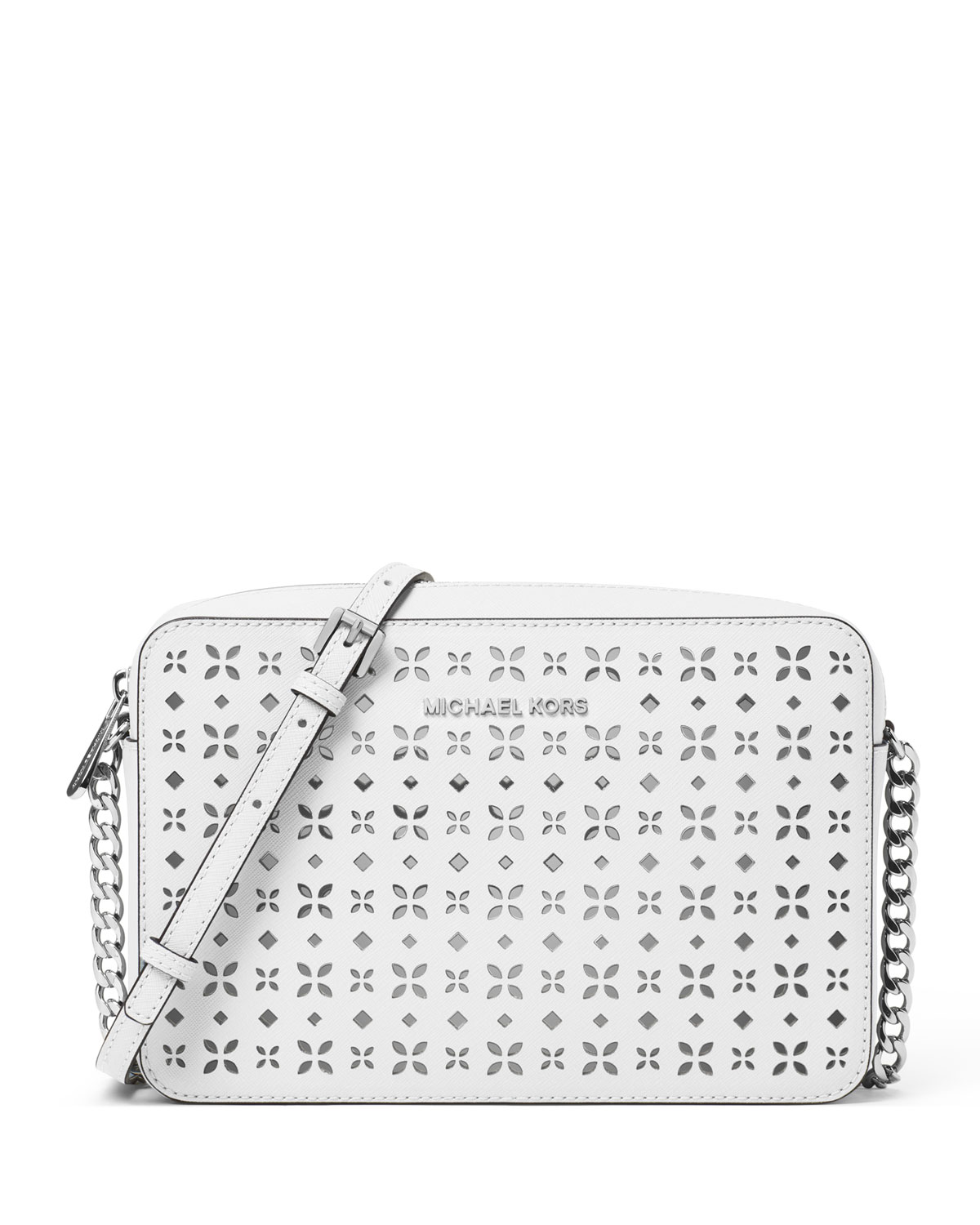 bbb015de3a3e MICHAEL Michael Kors Jet Set Laser-Cut Large Crossbody Bag, White/Silver