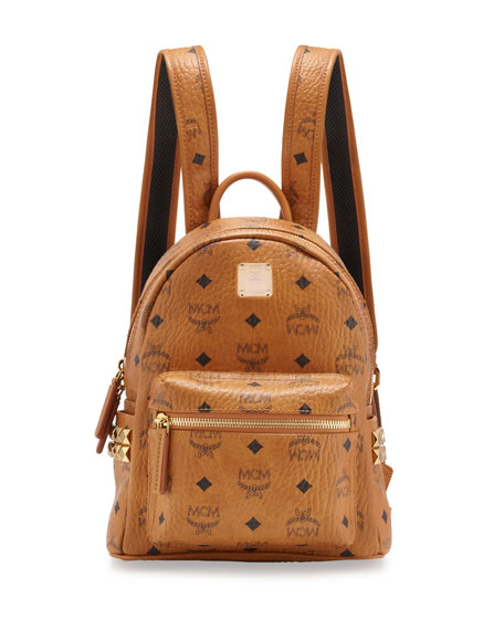 MCM Stark Side-Stud Mini Backpack, Cognac