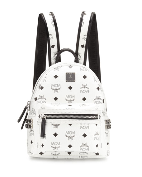 MCM Stark Side-Stud Mini Backpack, White