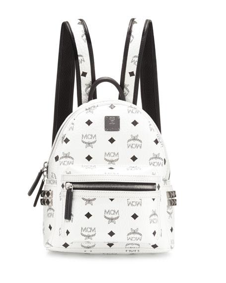 MCM Stark Side-Stud Mini Backpack, White