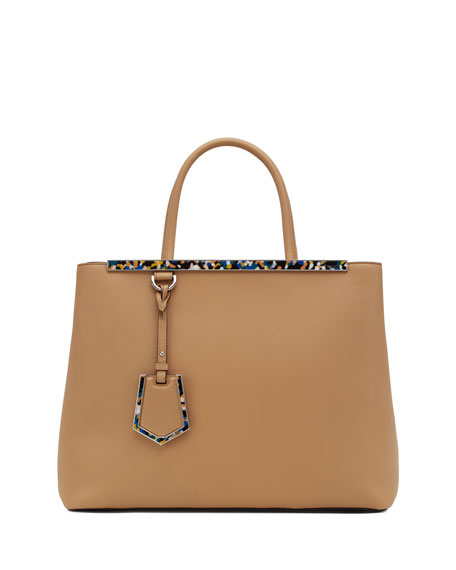 2Jours Medium Saffiano Tote Bag, Camel