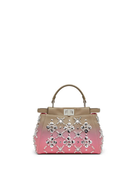 Fendi Peekaboo Mini Crystal Satchel Bag, Dove/Pink Ombre