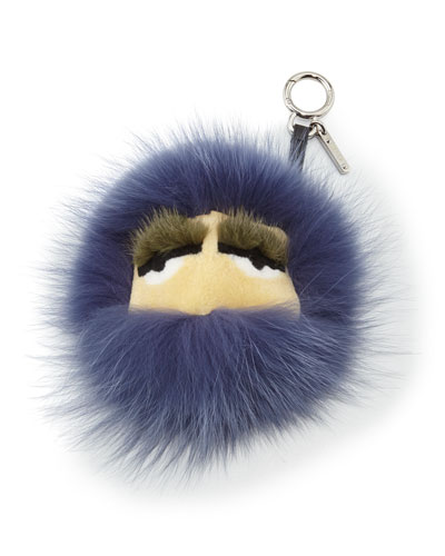 Big Monster Fur Charm, Cassis Purple/Black